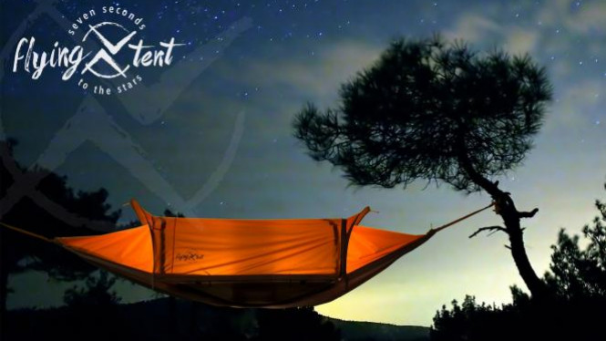 Flying tent.