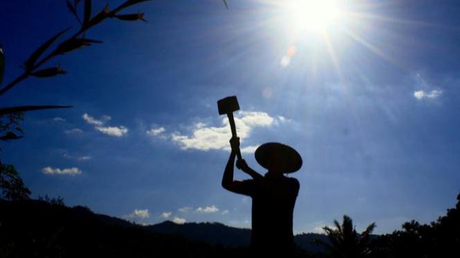 Petani dengan cangkulnya | Foto Istimewa
