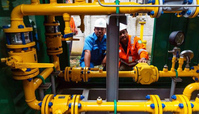 Ilustrasi-Aktivitas pekerja di Perusahaan Gas Negara (PGN).