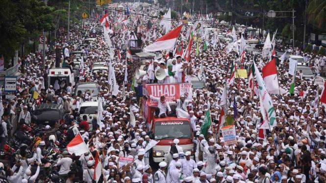Aksi 4 November yang digelar di sekitar Bundaran Bank Indonesia, Jakarta