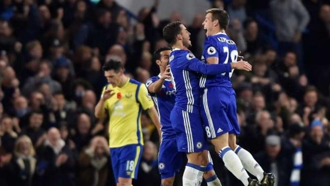 Selebrasi gol para pemain Chelsea