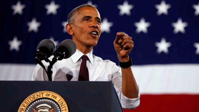 Presiden AS Barrack Obama saat menghadiri kampanye Capres AS Hillary Clinton