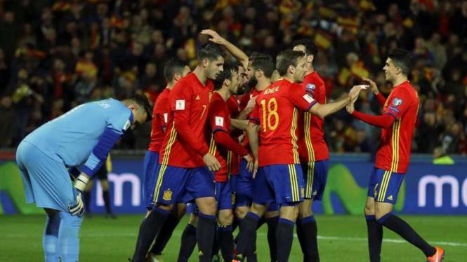 Selebrasi pemain Timnas Spanyol