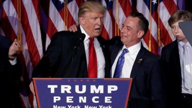Kedekatan Trump dan Reince Preibus Ketua Komite Nasional Partai Republik. Kini Trump mengangkat Reince Preibus sebagai Kepala Staf Gedung Putih.