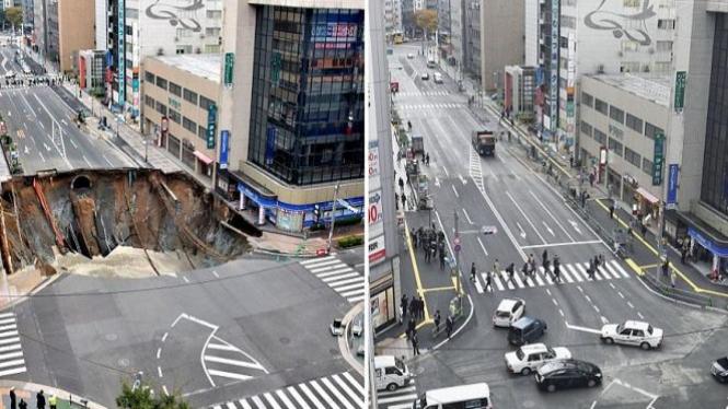 Perbaikan jalan di Jepang.