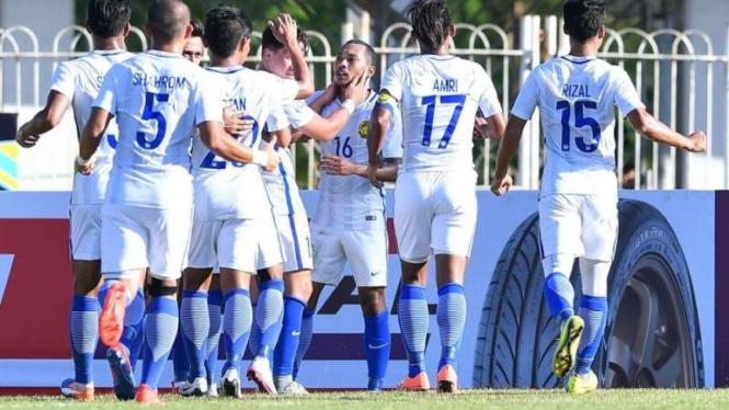 Timnas Malaysia merayakan gol di Piala AFF 2016