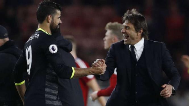 Diego Costa dan Manajer pelatih Chelsea, Antonio Conte.