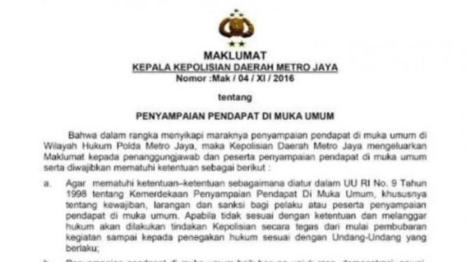 Maklumat Kapolda Metro Jaya