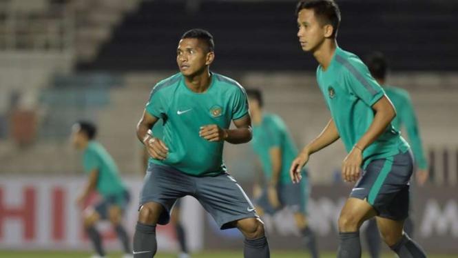 Latihan Timnas Indonesia jelang melawan Singapura