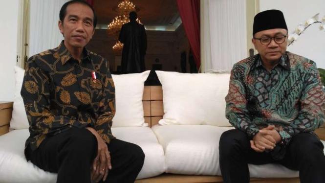 Presiden Jokowi dan Ketua Umum PAN, Zulkifli Hasan.