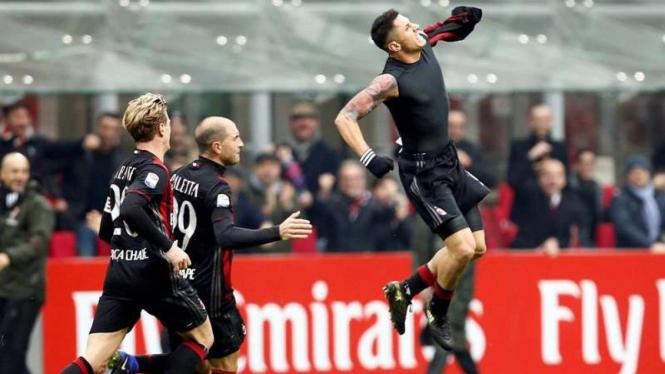 Selebrasi para pemain AC Milan.