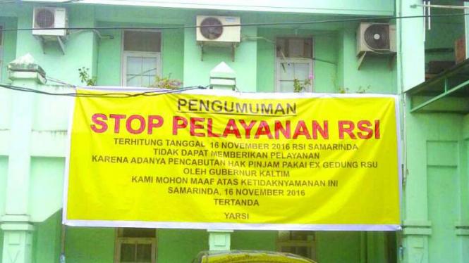 Pengumuman penutupan Rumah Sakit Islam di Samarinda Kalimantan Timur