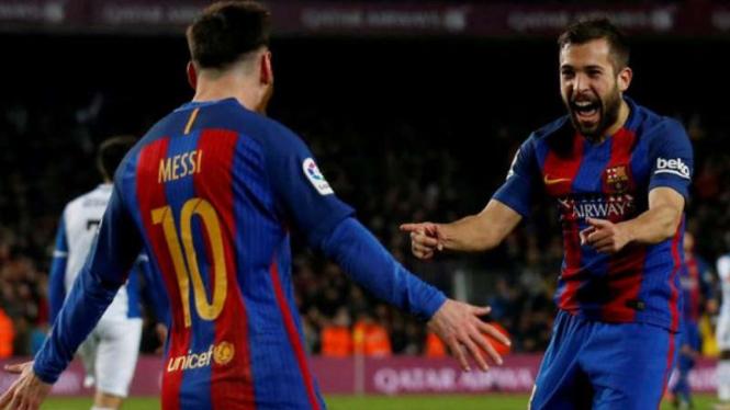 Megabintang Barcelona, Lionel Messi (kiri)