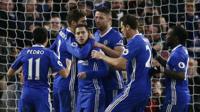 Para pemain Chelsea merayakan gol ke gawang Bournemouth
