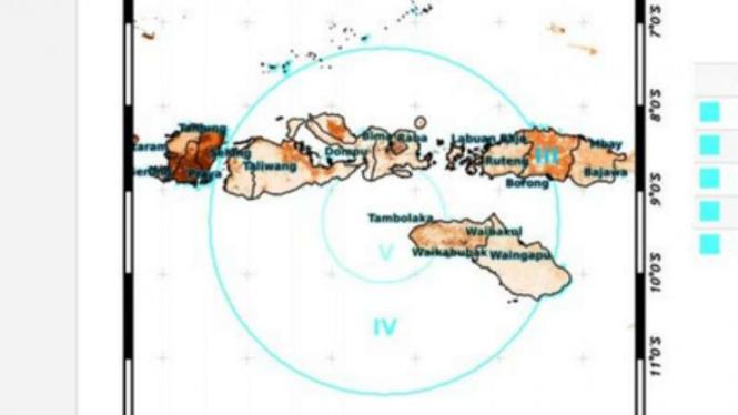 Titik koordinat gempa bumi 6,6 skala richter di Sumbawa