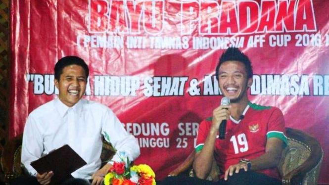 Gelandang timnas Indonesia, Bayu Pradana jadi pembicara di Pondok Pesantren