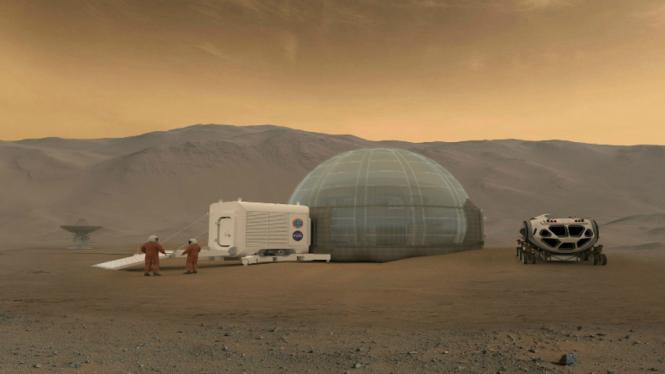 Ilustrasi rumah es NASA di Planet Mars.