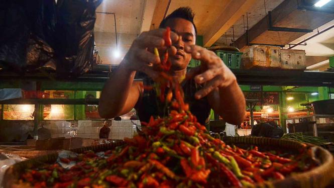 Pedagang cabai di pasar tradisional. (Ilustrasi)