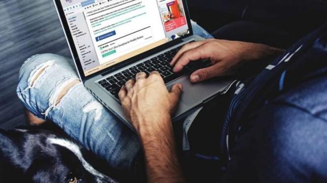 Ilustrasi pria dan laptop.