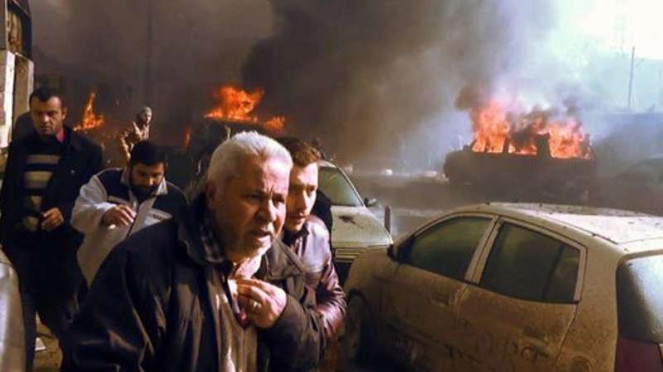 Bom dari mobil tangki yang meledak di Suriah.