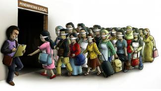 Ilustrasi perdagangan manusia.