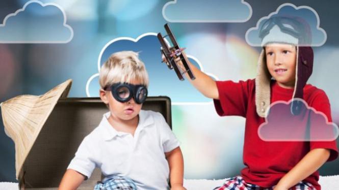 Ilustrasi anak-anak bercita-cita jadi pilot.