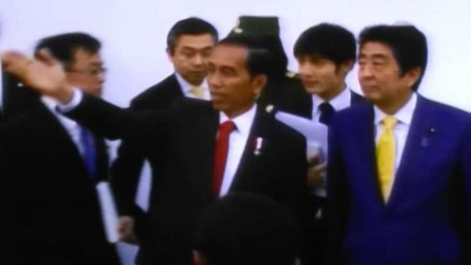 Presiden Joko Widodo dan Perdana Menteri Jepang Shinzo Abe.