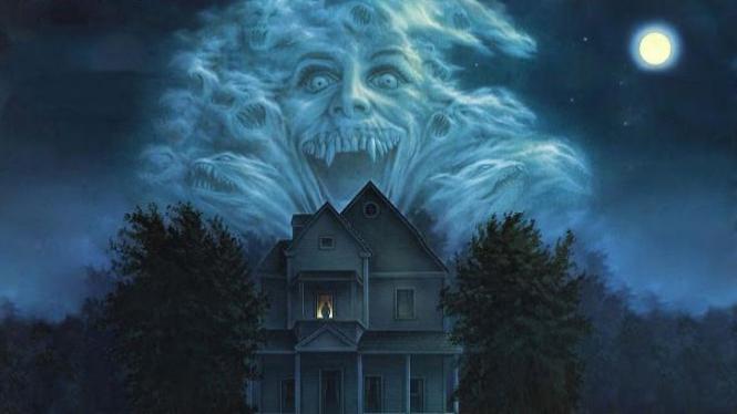 Ilustrasi rumah dan setan.