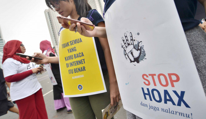 Aksi Kampanye Anti Hoax di Jakarta beberapa waktu lalu.
