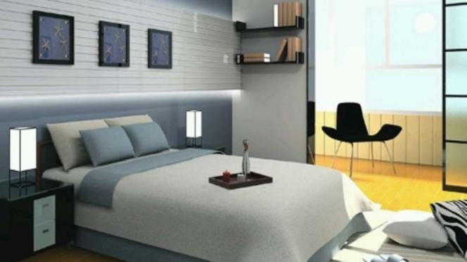 Ilustrasi desain interior kamar tidur.