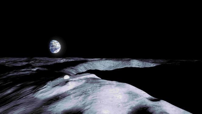 Ilustrasi permukaan Bulan, hasil rekaan tim Badan Antariksa Eropa (ESA).