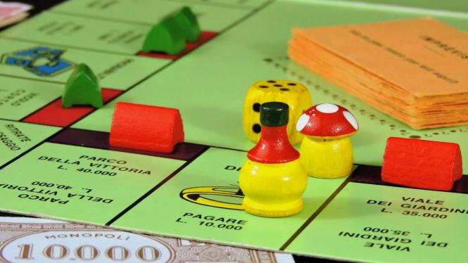 Ilustrasi permainan monopoli.