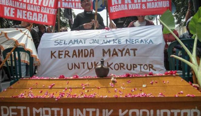 Ilustrasi demo korupsi proyek e-KTP