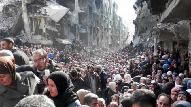 Ilustrasi pengungsi Suriah.