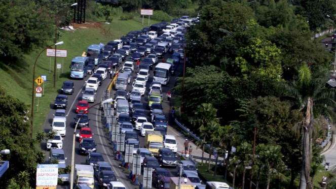 Ilustrasi kemacetan di Puncak Bogor