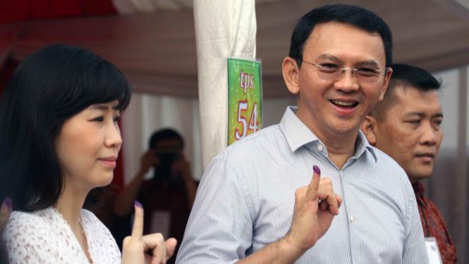 Basuki Tjahaja Purnama alias Ahok dan mantan istrinya, Veronica Tan.