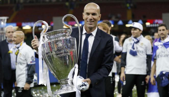 Pelatih Real Madrid, Zinedine Zidane, usai juara Liga Champions.