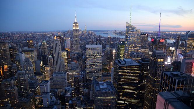 Pemandangan gedung Kota New York.