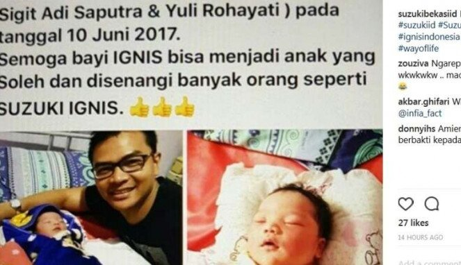 Bayi diberi nama Ignis
