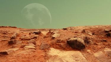 Ilustrasi permukaan Planet Mars.