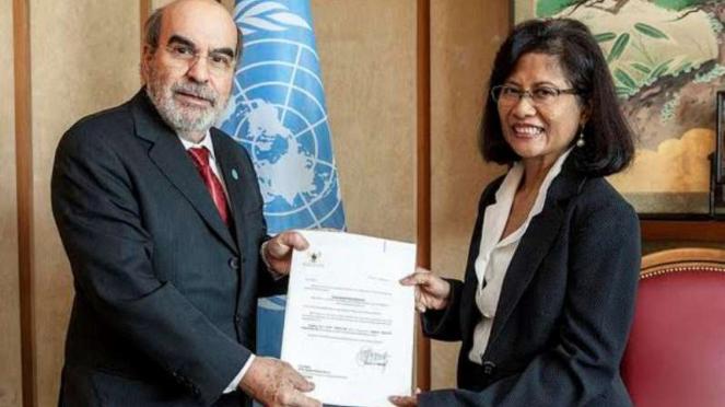 Dirjen FAO Jose Graziano Da Silva dan Wakil Tetap RI di FAO Dubes Esti Andayani