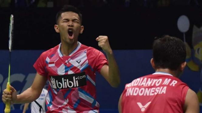 Ganda putra Indonesia, Fajar Alfian (kiri) dan M Rian Ardianto.