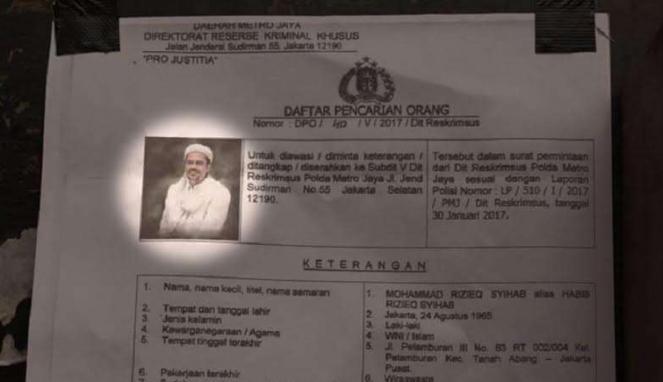 Foto buronan (DPO) tersangka dugaan pornografi, Habib Rizieq.