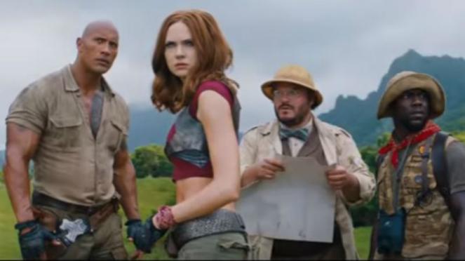 Cuplikan film Jumanji; Welcome to the Jungle.