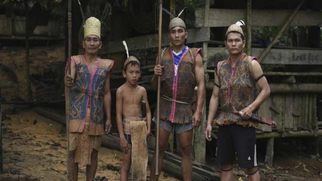 Orang suku Dayak di Kalimantan Timur