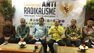 Deklarasi Anti Radikalisme Perguruan Tinggi di Jawa Barat' di Aula Graha Sanusi Universitas Padjajaran Kota Bandung, Jumat (14/7/2017).