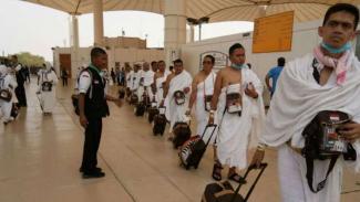 Jemaah haji saat tiba di bandara.