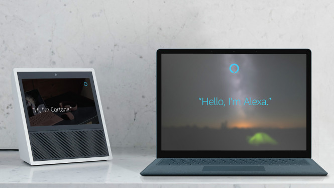 Ilustrasi Alexa dan Cortana