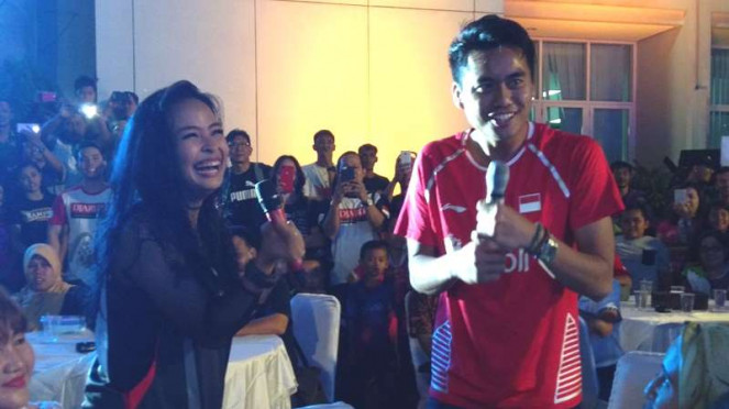 Tantri KOTAK (kiri) dan Tontowi Ahmad