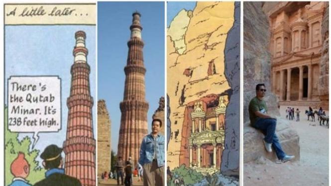 Nelwin Aldriansyah mengunjungi tempat-tempat di komik Tintin.